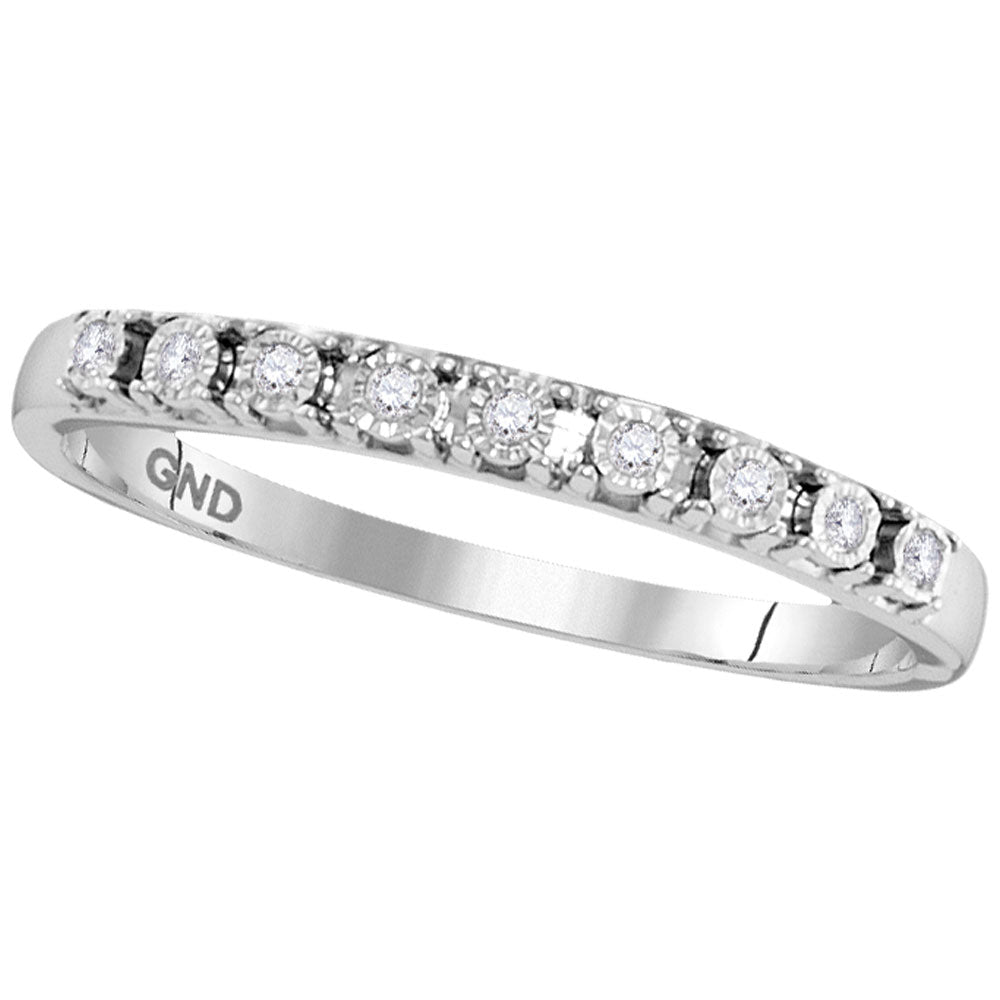 10kt White Gold Womens Round Diamond Illusion-set Band 1/20 Cttw