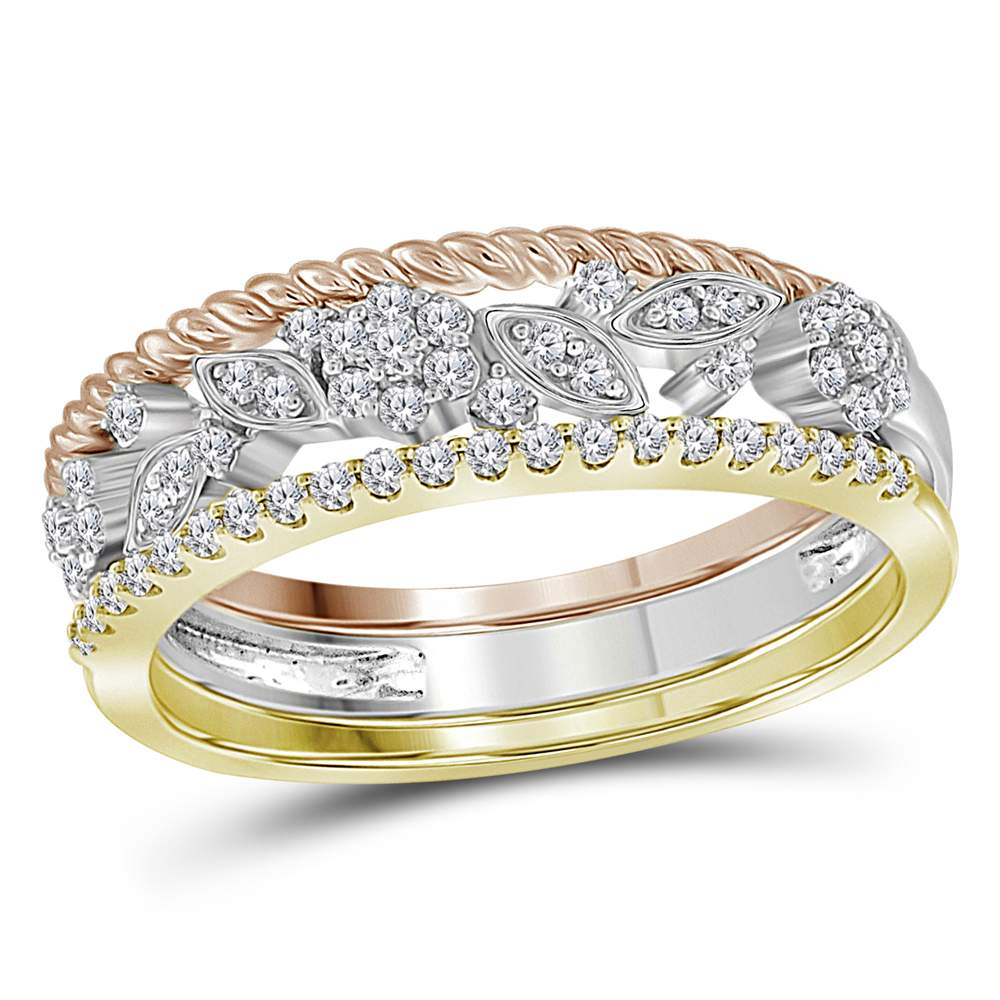10kt Tri-Tone Gold Womens Round Diamond Rope Floral 3-Piece Stackable Band Set 1/4 Cttw