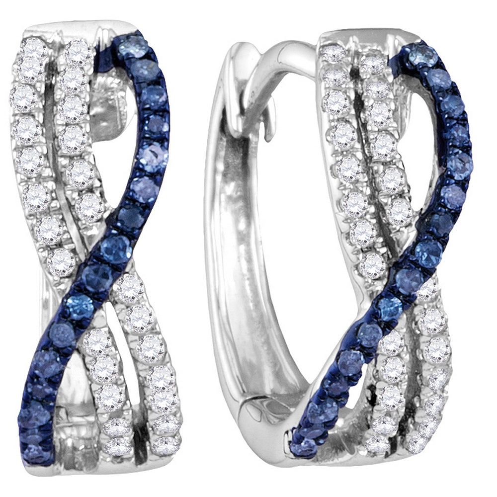 10kt White Gold Womens Blue Color Enhanced Diamond Hinged Hoop Earrings 1/4 Cttw