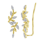 10kt Yellow Gold Womens Round Diamond Floral Climber Earrings 1/5 Cttw