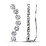 14kt White Gold Womens Round Diamond Bezel-set Climber Earrings 1.00 Cttw