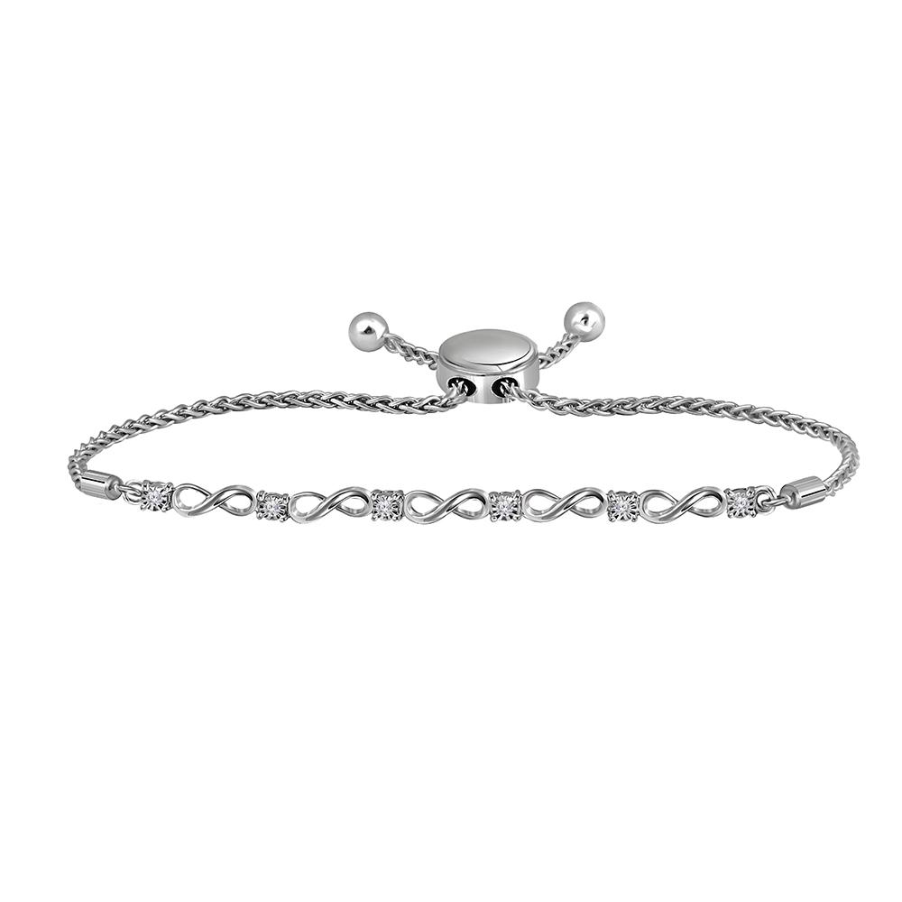 Sterling Silver Womens Round Diamond Infinity Bolo Bracelet 1/12 Cttw