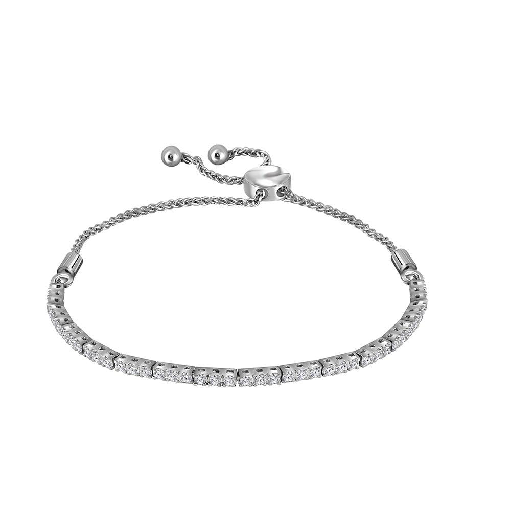 10kt White Gold Womens Round Diamond Bolo Bracelet 1.00 Cttw