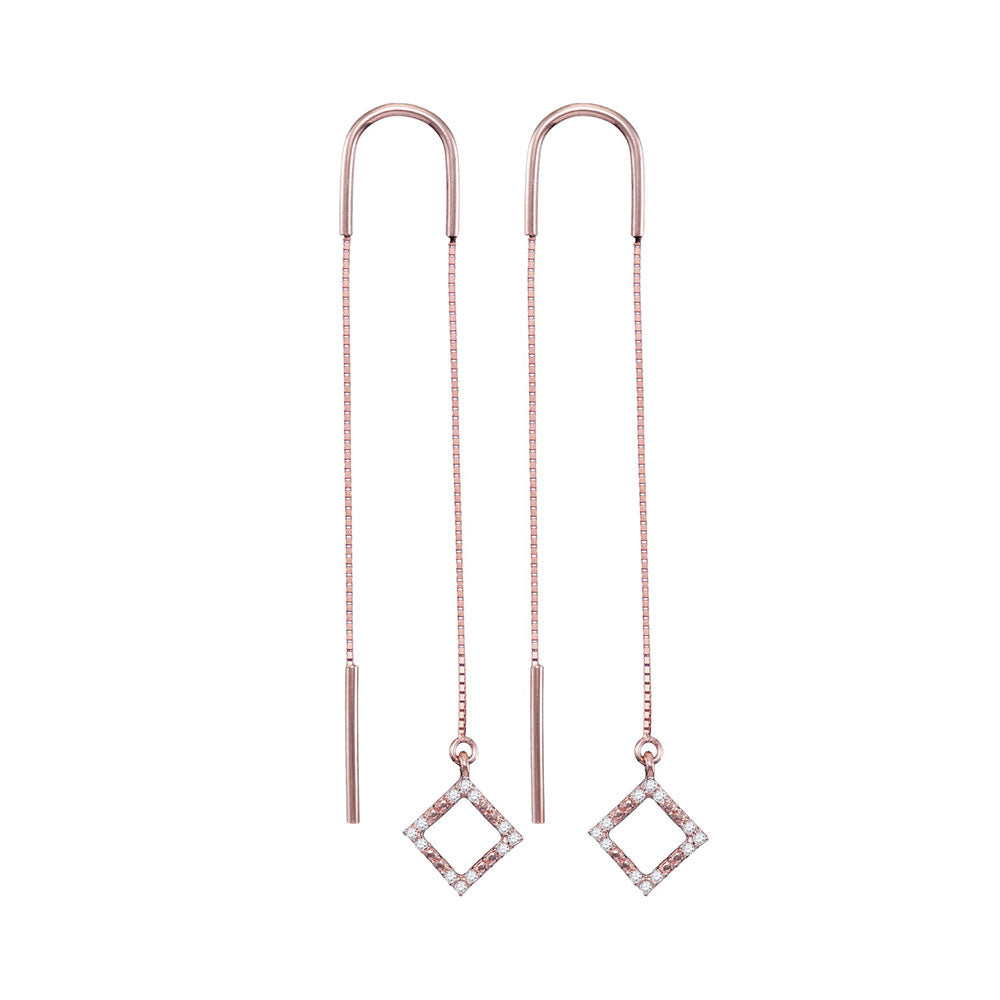 10kt Rose Gold Womens Round Diamond Diagonal Square Dangle Threader Earrings 1/10 Cttw