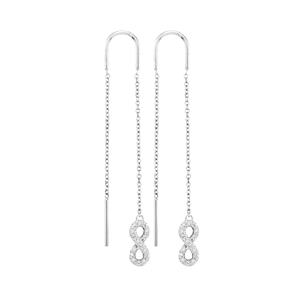 10kt White Gold Womens Round Diamond Infinity Threader Earrings 1/8 Cttw