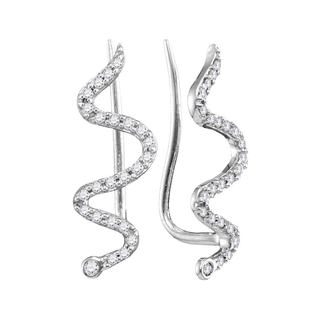 10kt White Gold Womens Round Diamond Snake Climber Earrings 1/6 Cttw