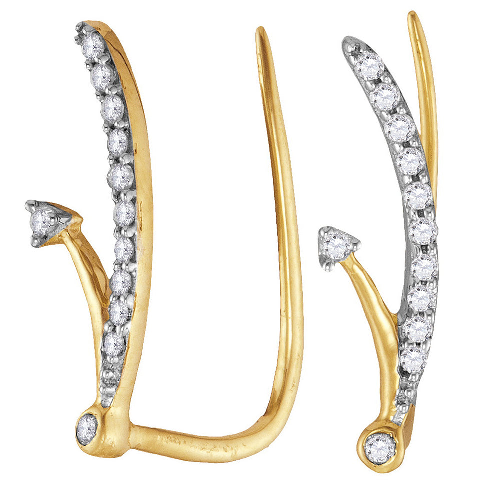 10kt Yellow Gold Womens Round Diamond Curved Climber Earrings 1/10 Cttw
