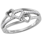 10kt White Gold Womens Round Diamond Double Heart Striped Band Ring 1/10 Cttw