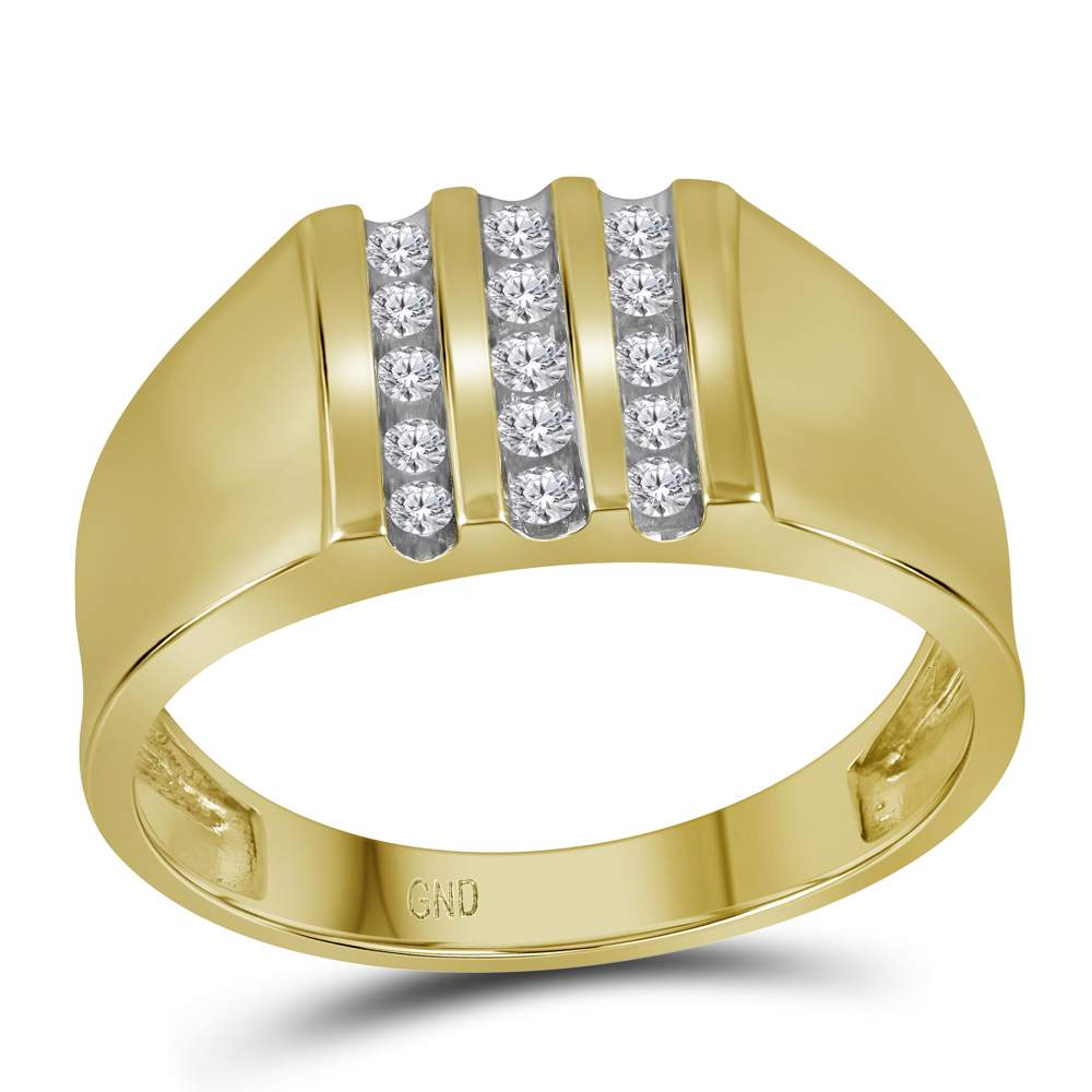 10kt Yellow Gold Mens Round Channel-set Diamond Triple Row Wedding Band Ring 1/4 Cttw