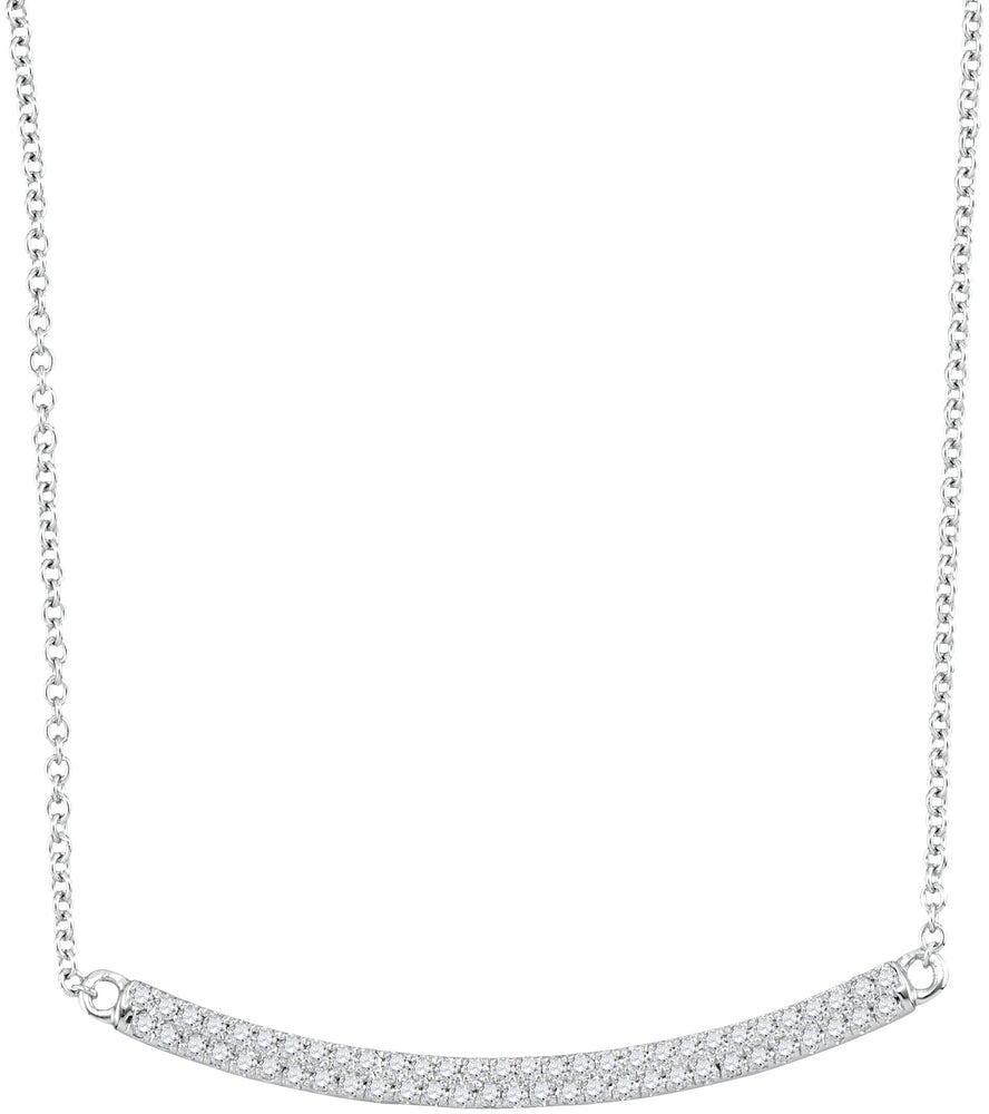 10kt White Gold Womens Round Diamond Curved Horiontal Bar Pendant Necklace 1/4 Cttw