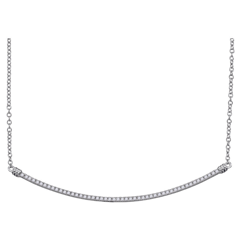 10kt White Gold Womens Round Diamond Curved Slender Bar Pendant Necklace 1/4 Cttw