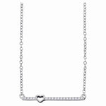 10kt White Gold Womens Round Diamond Heart Bar Pendant Chain Necklace 1/10 Cttw