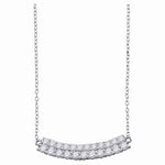 14kt White Gold Womens Round Diamond Curved Double Row Bar Necklace 1.00 Cttw