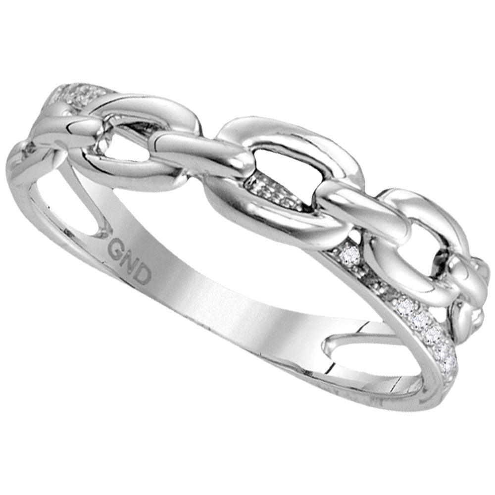 10kt White Gold Womens Round Diamond Chain Crossover Band Ring 1/12 Cttw