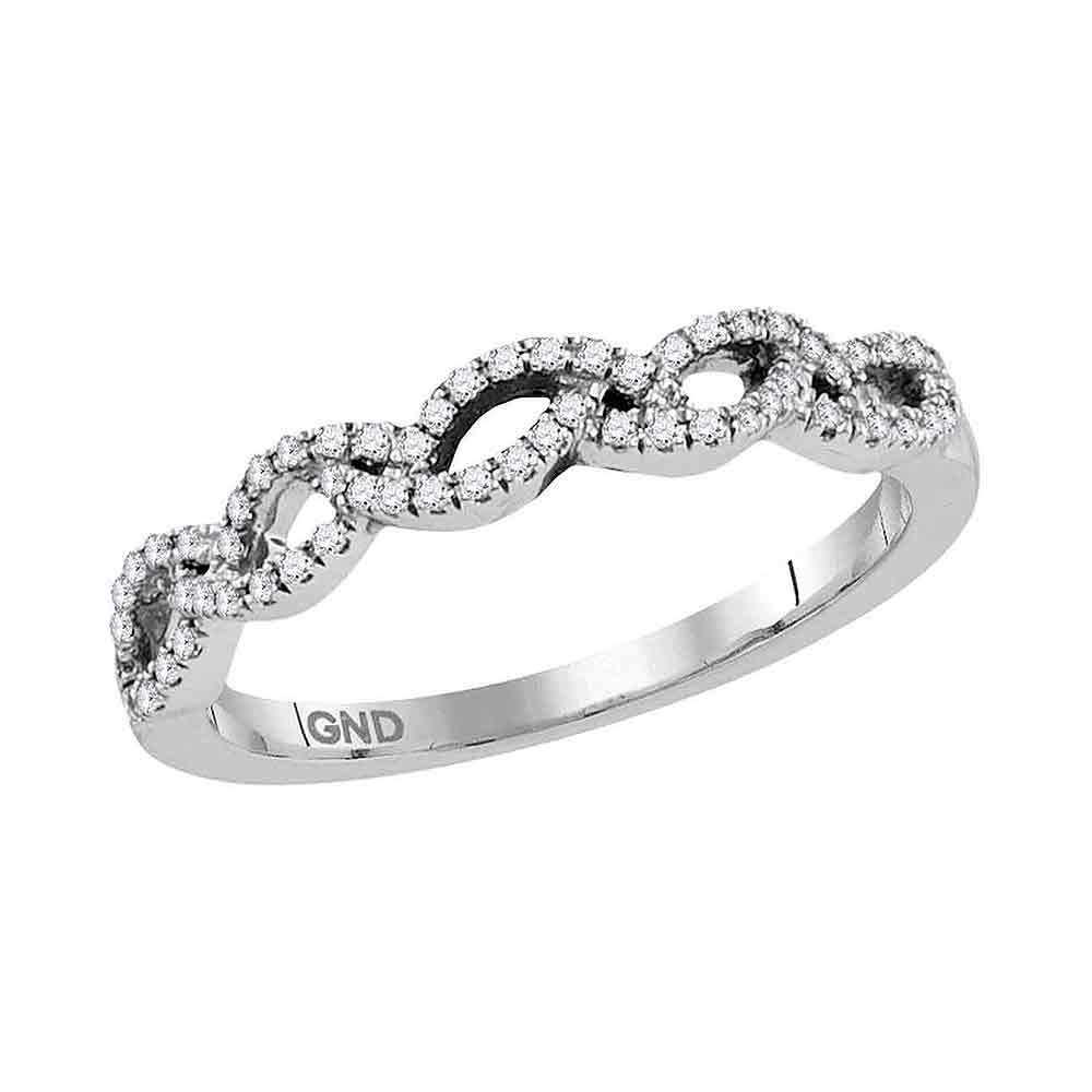 10kt White Gold Womens Round Diamond Woven Band Ring 1/5 Cttw
