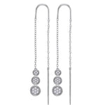 10kt White Gold Womens Round Diamond Triple Circle Cluster Threader Earrings 1/8 Cttw