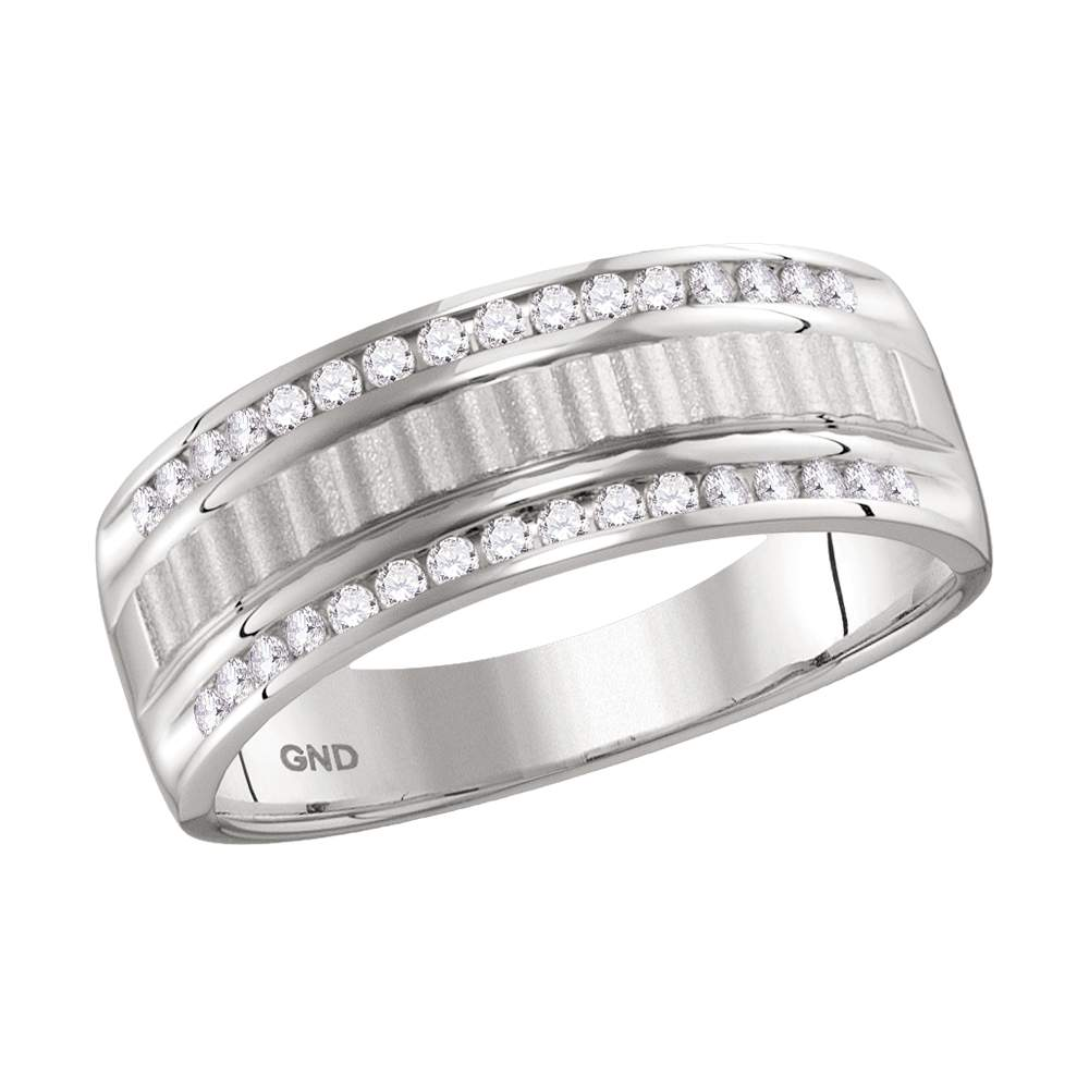 14kt White Gold Mens Round Channel-set Diamond Textured Wedding Band Ring 1/3 Cttw