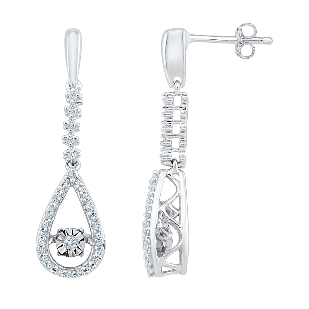 10kt White Gold Womens Round Diamond Moving Twinkle Teardrop Dangle Earrings 1/5 Cttw
