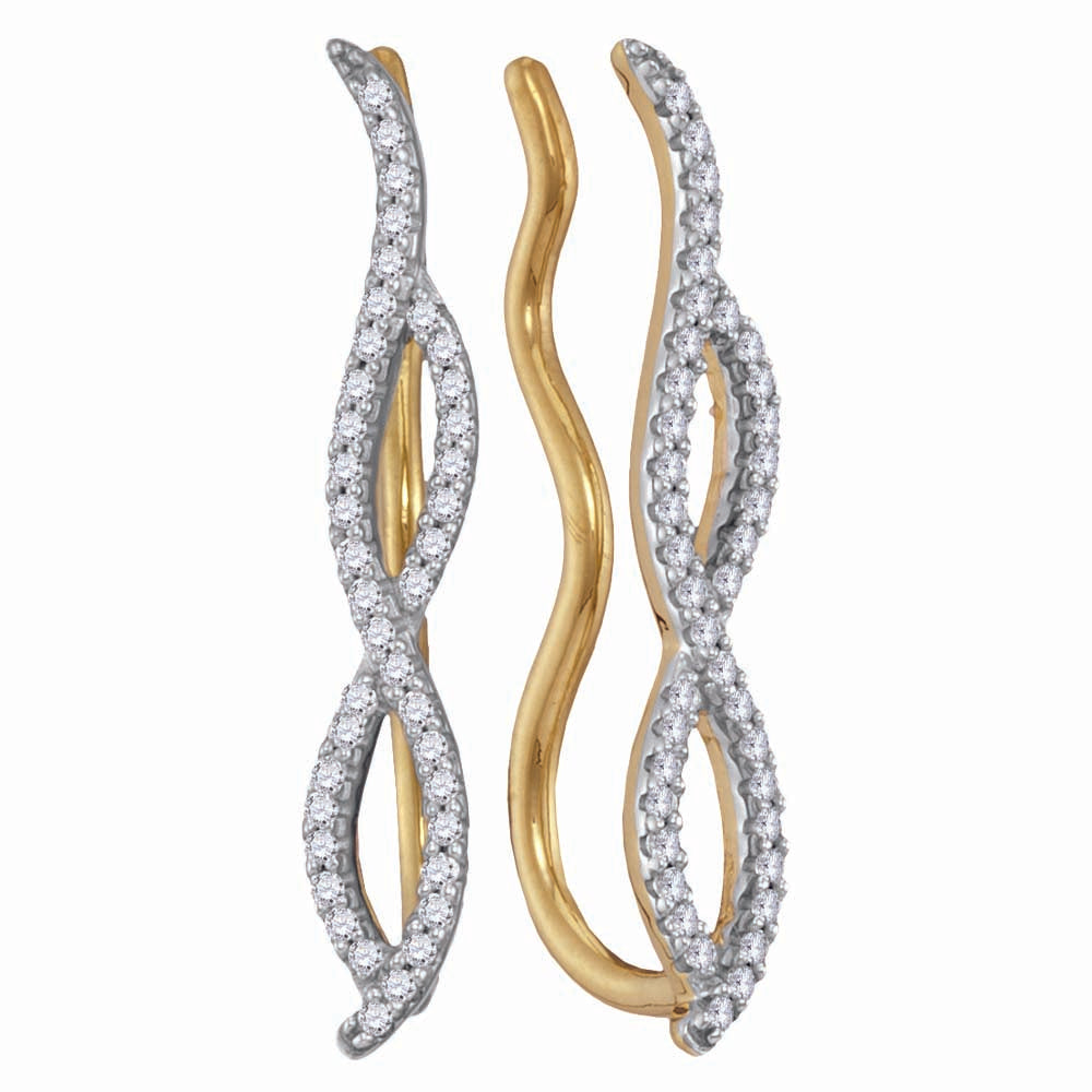 10kt Yellow Gold Womens Round Diamond Infinity Climber Earrings 1/4 Cttw