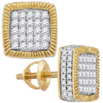 10kt Yellow Gold Womens Round Diamond Square Rope Frame Earrings 7/8 Cttw