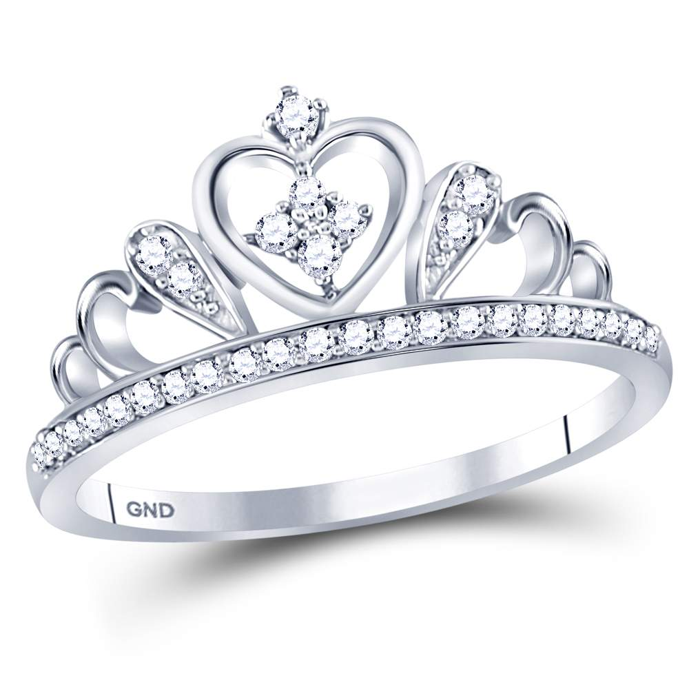 Sterling Silver Womens Round Diamond Crown Tiara Heart Ring 1/6 Cttw