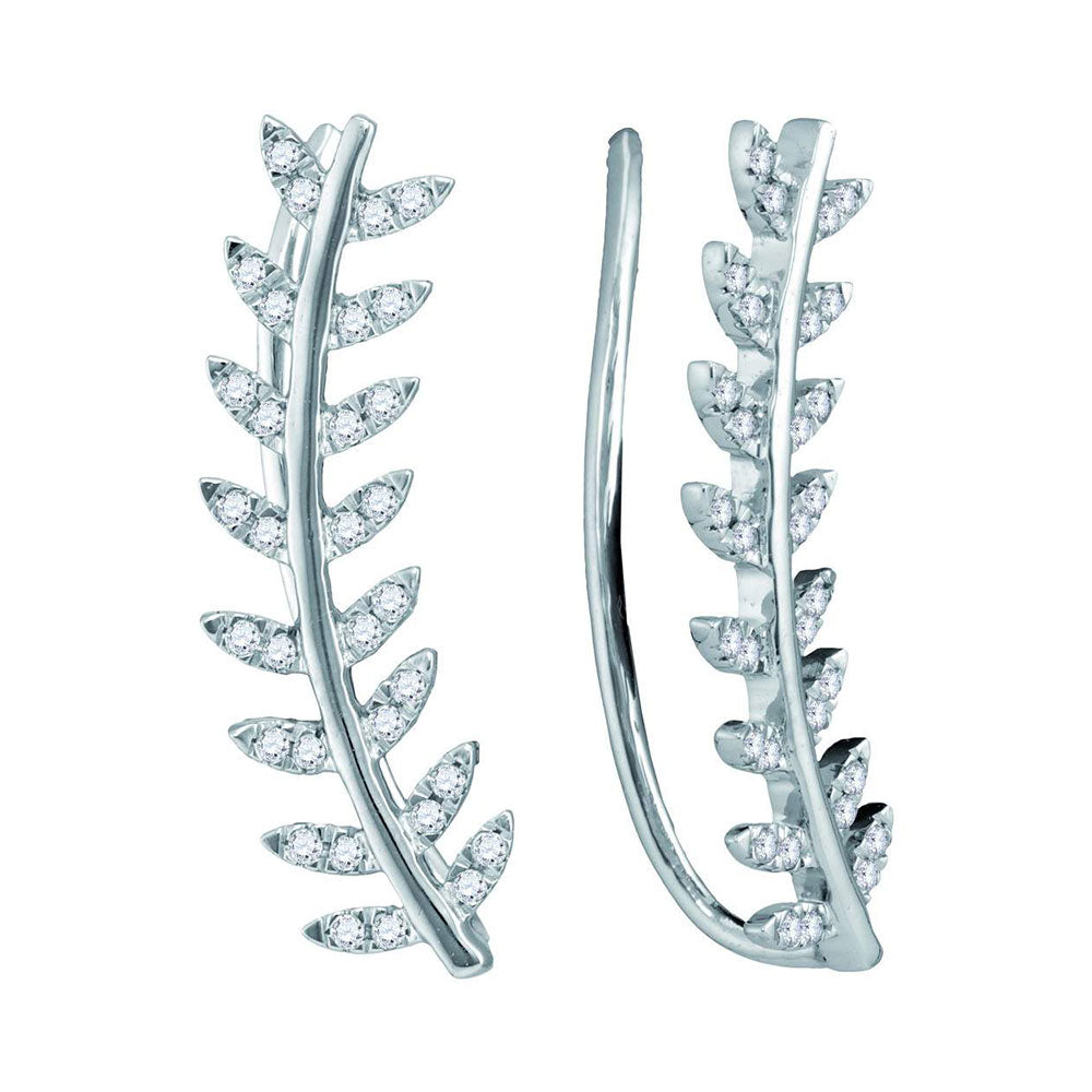 10kt White Gold Womens Round Diamond Floral Leaf Climber Earrings 1/4 Cttw