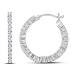 14kt White Gold Womens Round Diamond Single Row Hoop Earrings 1.00 Cttw