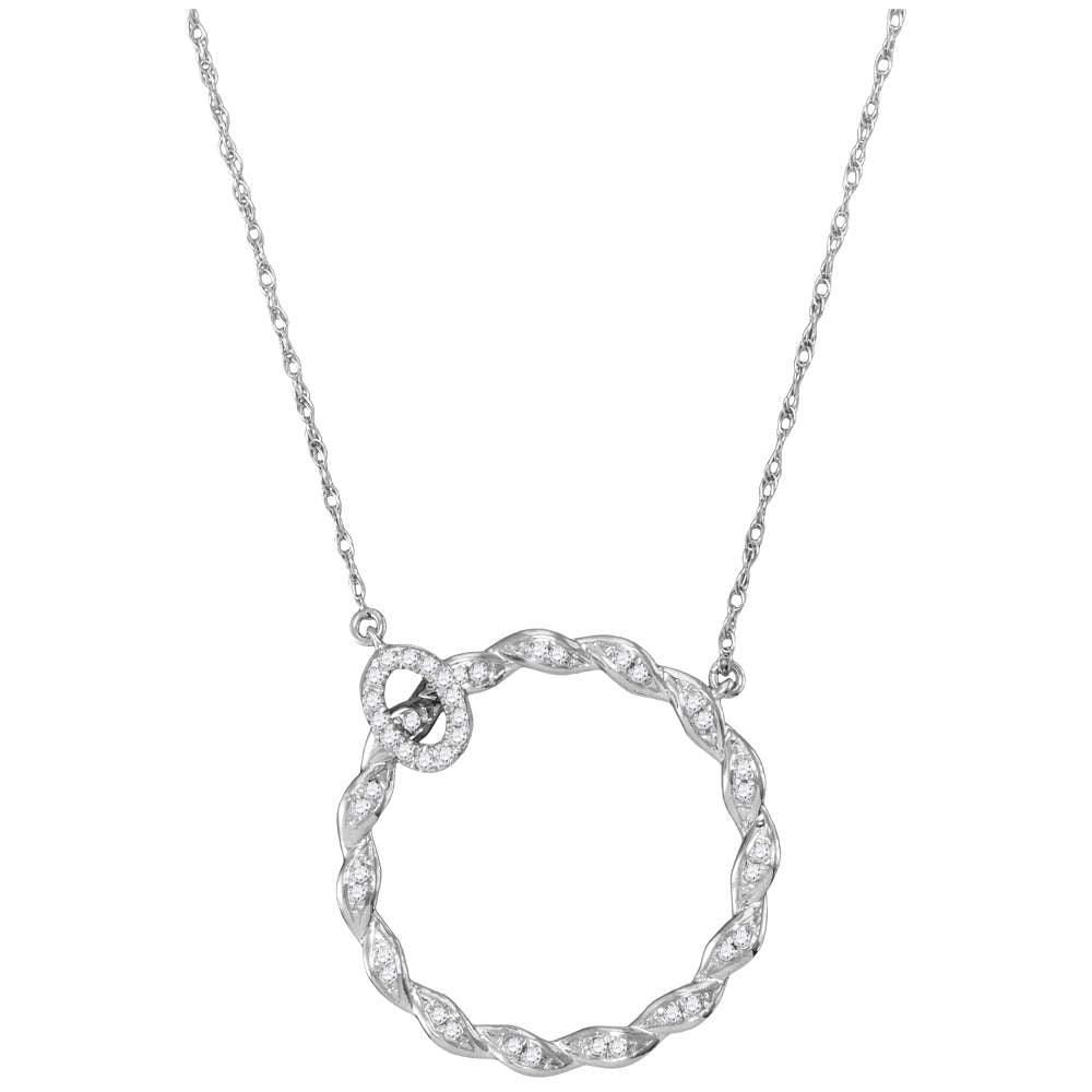 10kt White Gold Womens Round Diamond Circle Pendant Necklace 1/10 Cttw