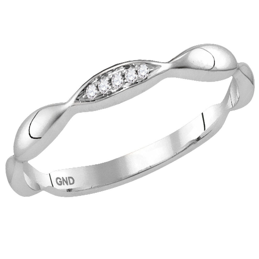 10kt White Gold Womens Round Diamond Contour Stackable Band Ring .02 Cttw