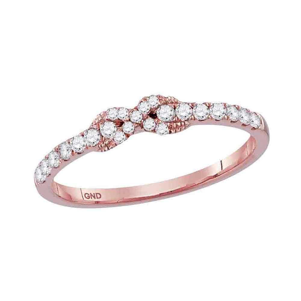 10kt Rose Gold Womens Round Diamond Infinity Knot Stackable Band Ring 1/4 Cttw
