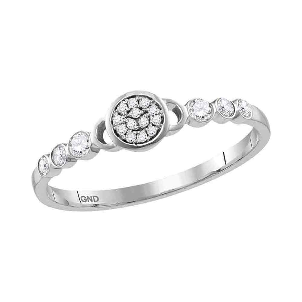 10kt White Gold Womens Round Diamond Cluster Stackable Band Ring 1/6 Cttw