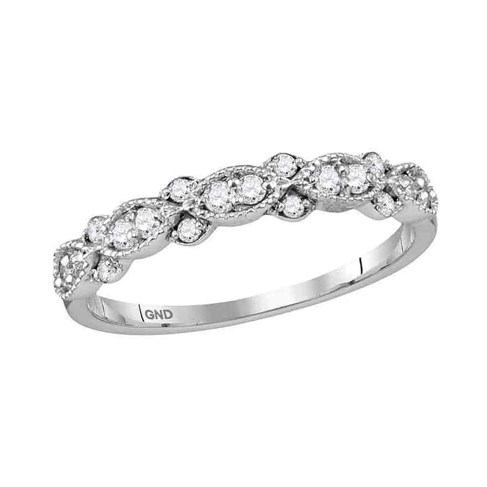 10kt White Gold Womens Round Diamond Stackable Band Ring 1/4 Cttw