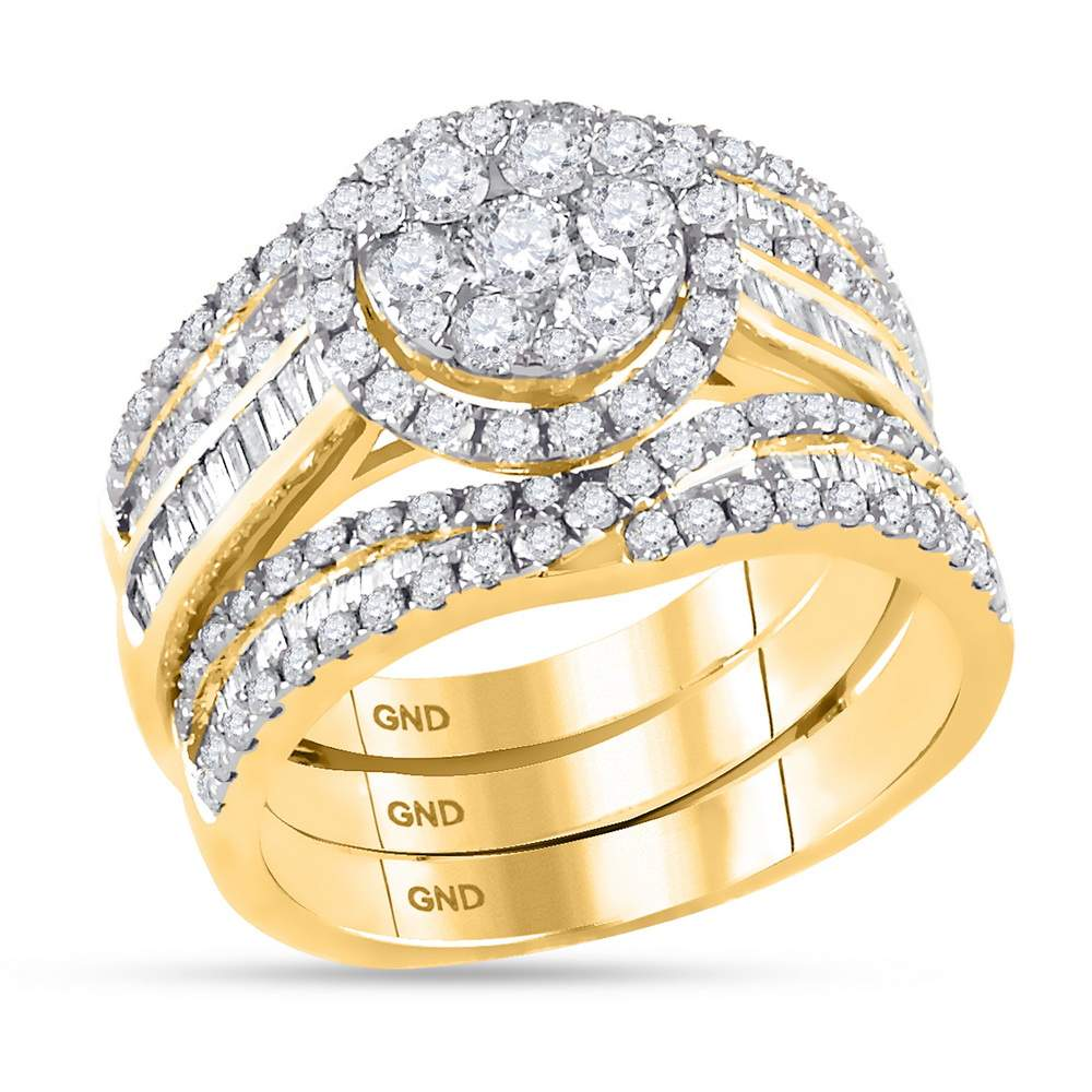 14kt Yellow Gold Womens Round Diamond Cluster Bridal Wedding Engagement Ring Band 3-Piece Set 2-1/12 Cttw