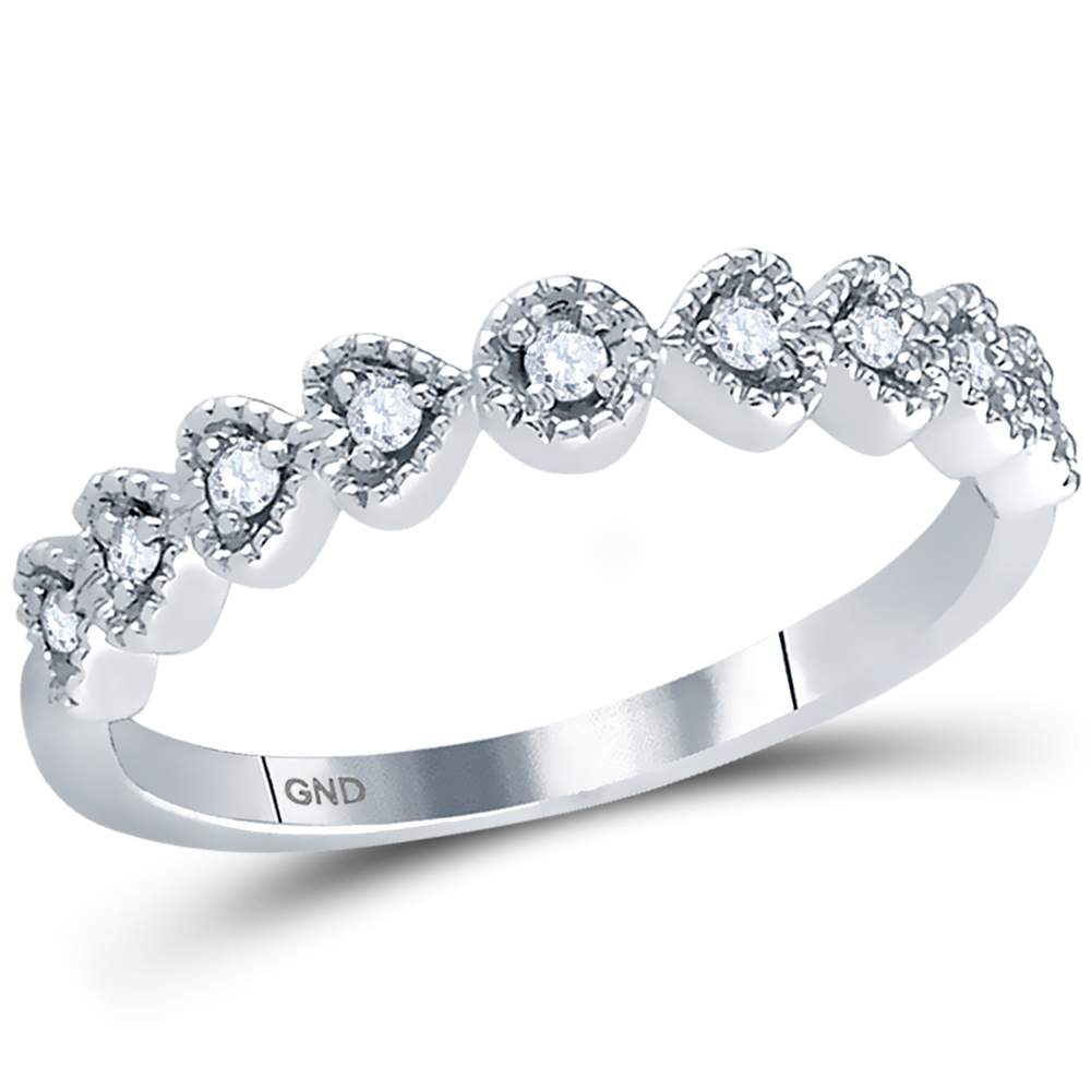 14kt White Gold Womens Round Diamond Heart Stackable Band Ring 1/10 Cttw