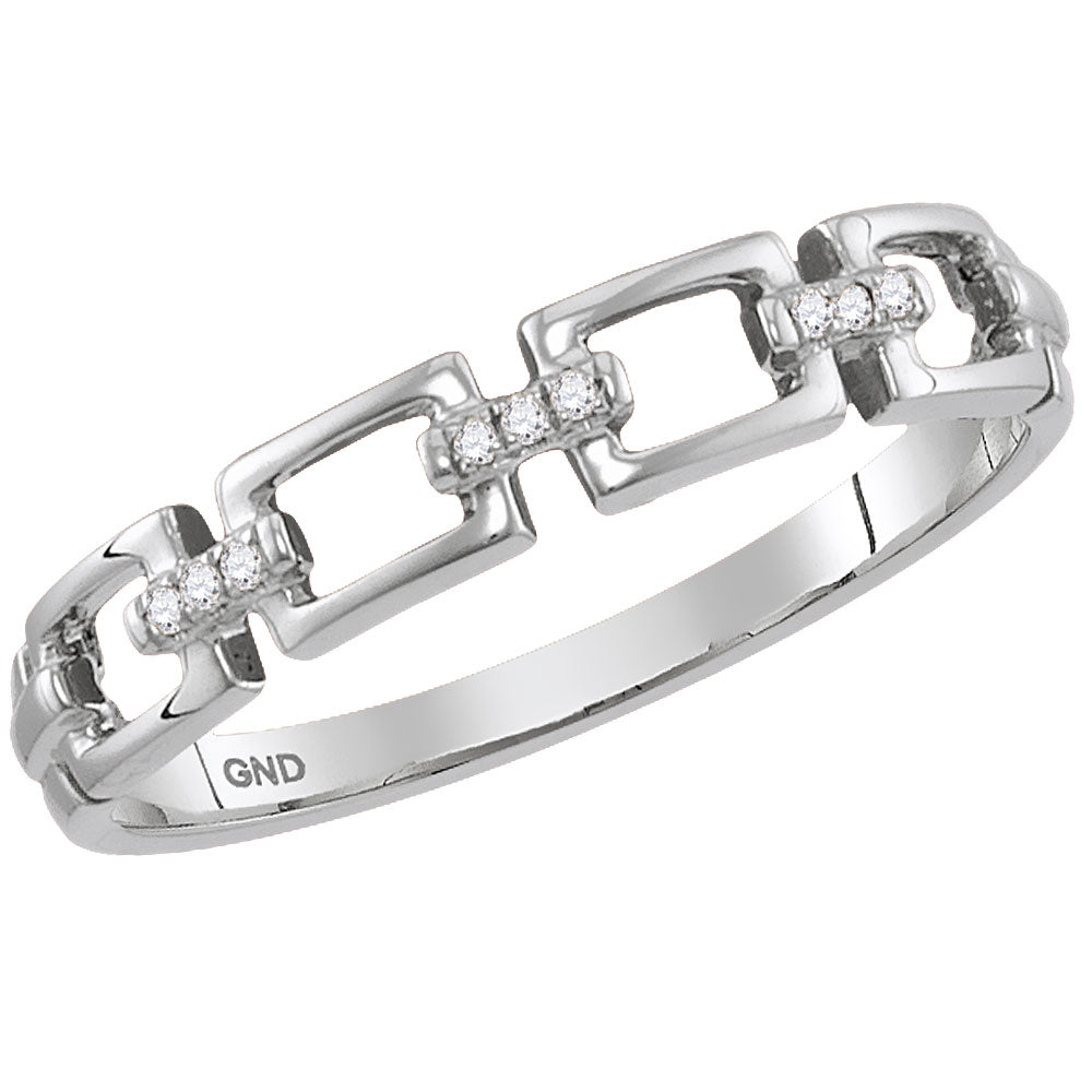 14kt White Gold Womens Round Diamond Chain Link Stackable Band Ring .03 Cttw