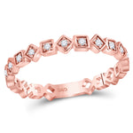 10kt Rose Gold Womens Round Diamond Squares Stackable Band Ring 1/10 Cttw