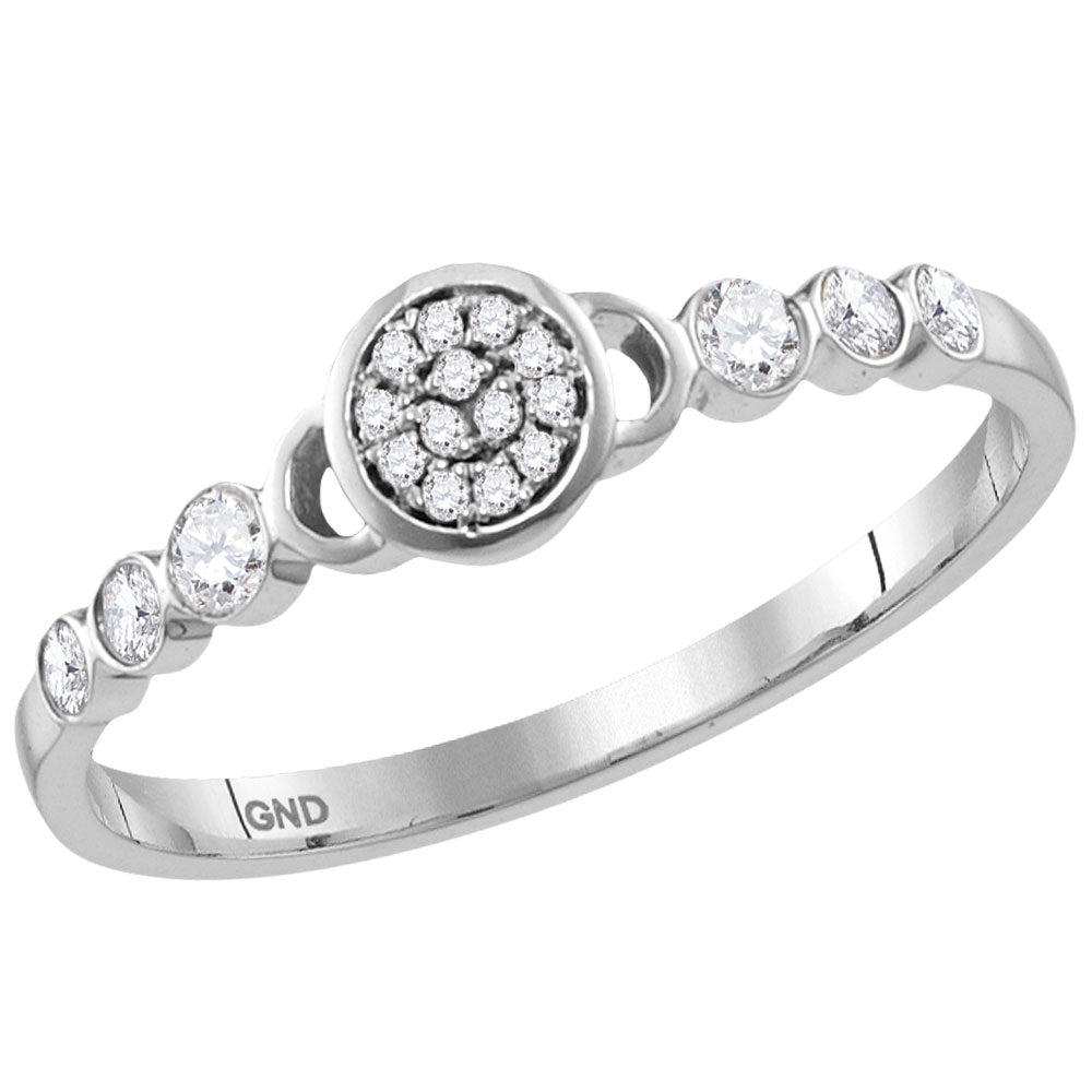 14kt White Gold Womens Round Diamond Cluster Stackable Band Ring 1/6 Cttw