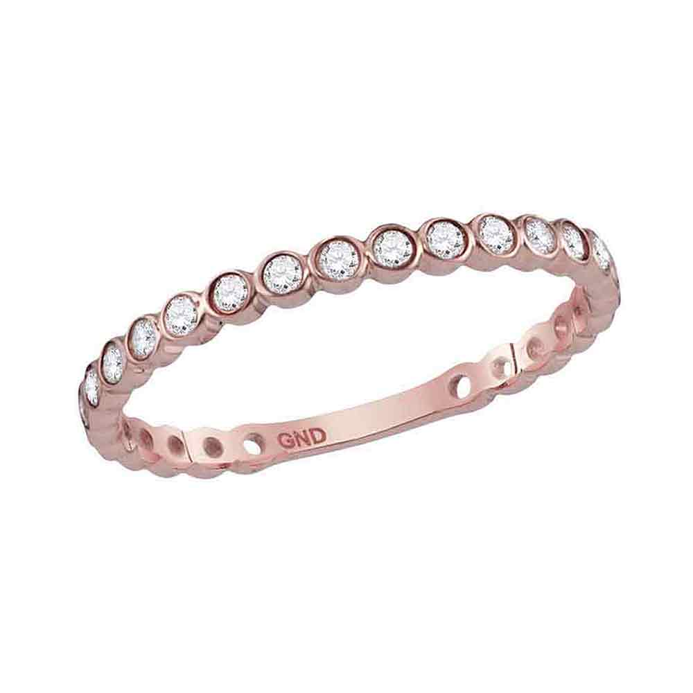 14kt Rose Gold Womens Round Diamond Stackable Band Ring 1/5 Cttw