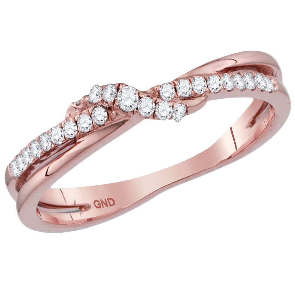 14kt Rose Gold Womens Round Diamond Crossover Stackable Band Ring 1/6 Cttw