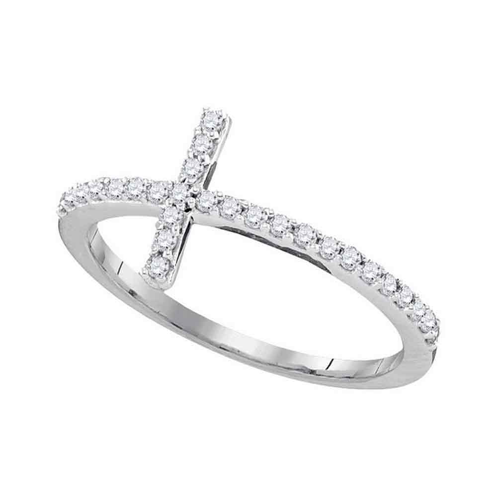 10kt White Gold Womens Round Diamond Christian Cross Slender Band Ring 1/5 Cttw - Size 6