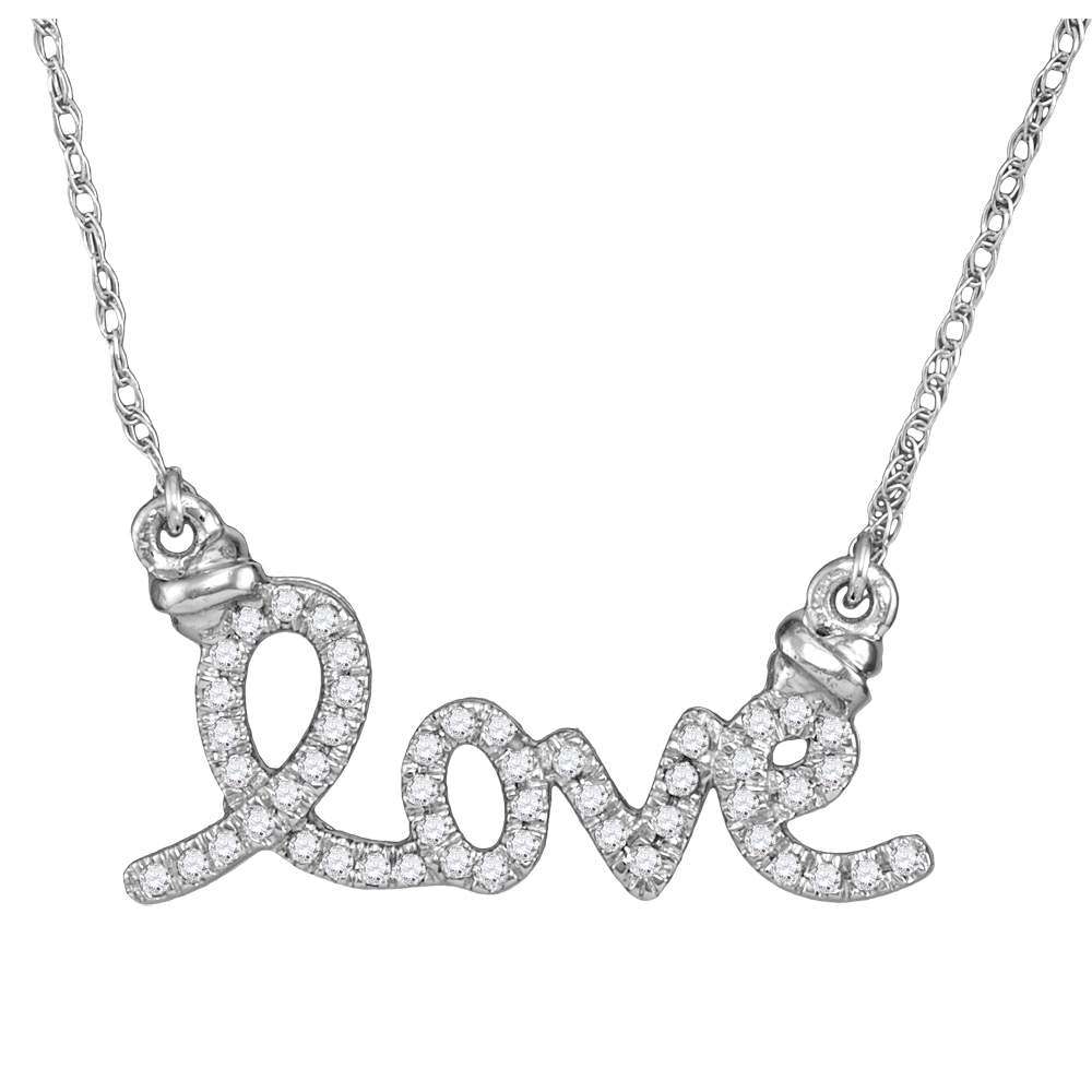 10kt White Gold Womens Round Diamond Cursive Love Pendant Necklace 1/8 Cttw