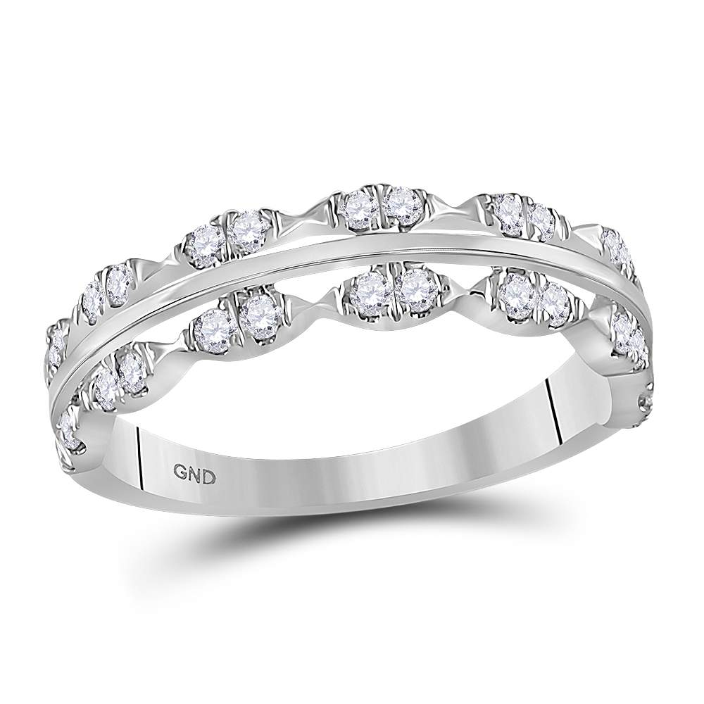 14kt White Gold Womens Round Diamond Contoured Symmetrical Band Ring 3/8 Cttw