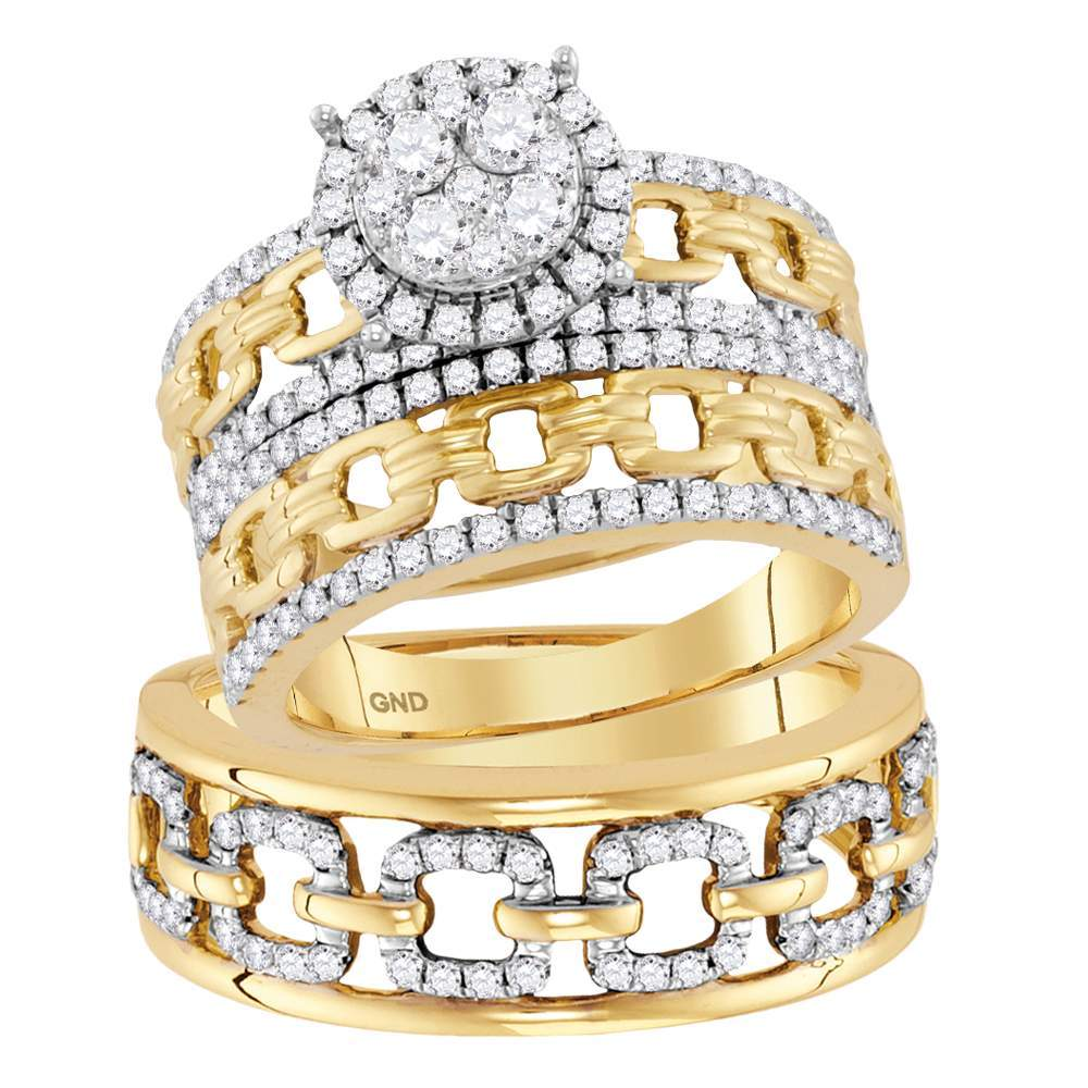 14kt Yellow Gold His & Hers Round Diamond Cluster Matching Bridal Wedding Ring Band Set 1-3/8 Cttw