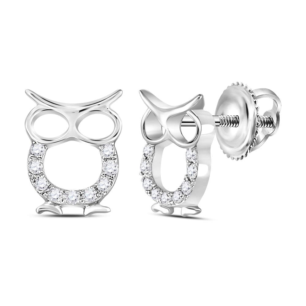 Sterling Silver Womens Round Diamond Owl Animal Stud Earrings 1/6 Cttw