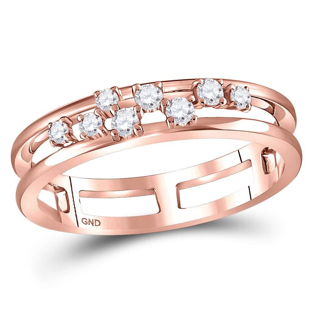 10kt Rose Gold Womens Round Diamond Split Band Ring 1/5 Cttw