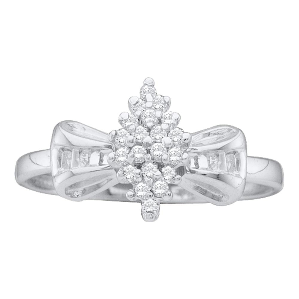 10kt White Gold Womens Round Prong-set Diamond Oval Cluster Baguette Ring 1/10 Cttw