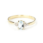 0.46 Carat 14k Solid Gold Aquamarine Gemstone Diamond Ring