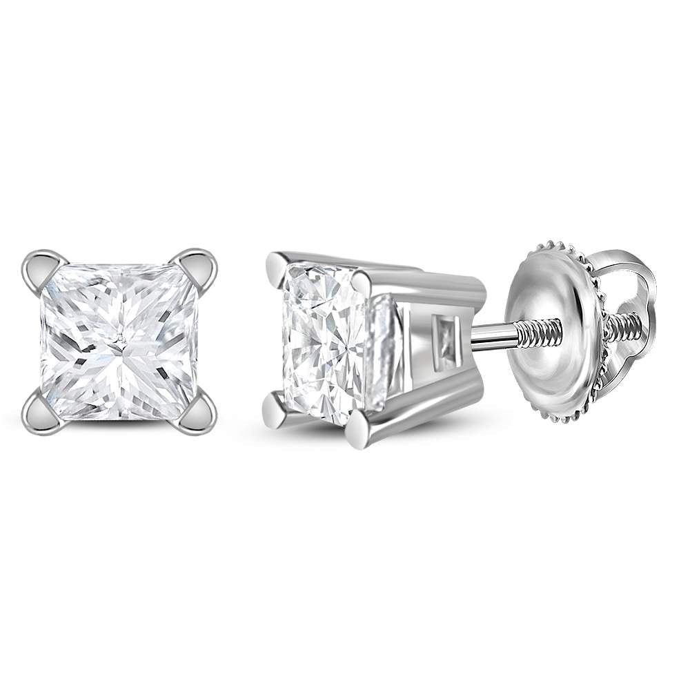 14kt White Gold Unisex Princess Diamond Solitaire Stud Earrings 1/2 Cttw