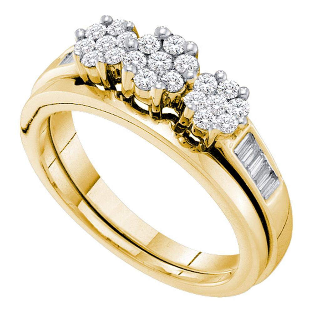 14kt Yellow Gold Womens Round Diamond Triple Cluster Bridal Wedding Engagement Ring Band Set 1/2 Cttw