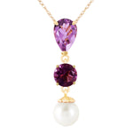 5.25 Carat 14K Solid Gold Necklace Purple Amethyst pearl